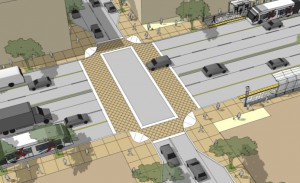 Decorative crosswalks create pedestrian awareness and caution drivers entering a pedestrian area.